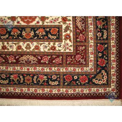 قالیچه دستباف کرک و ابریشم قم طرح ترنج کتیبه ای اعلا باف