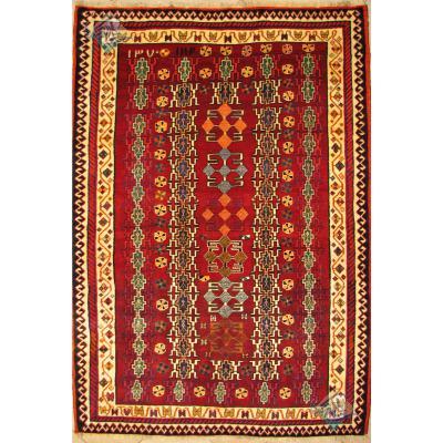 قالیچه دستباف قشقایی تمام پشم دستریس طرح هندسی