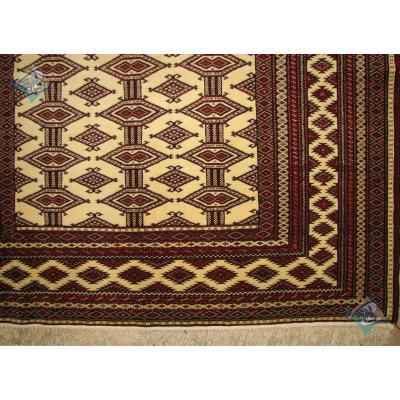 قالیچه دستباف ترکمن نقشه هندسی چله ابریشم