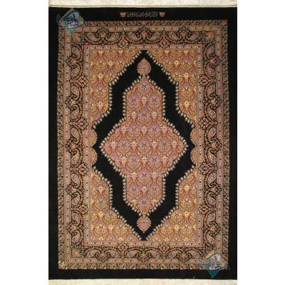 جفت قالیچه دستباف قم نقشه بته ترمه کف ساده چله و گل ابریشم