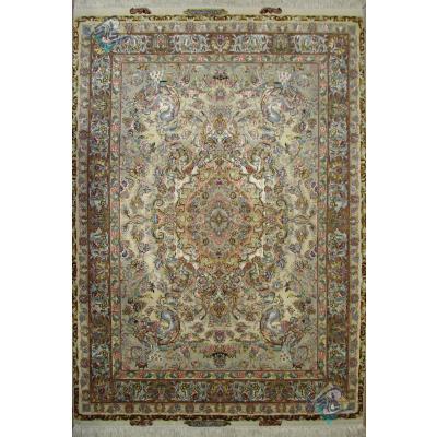 جفت قالیچه دستباف نقشه جدید نوینفر چله و گل ابریشم پنجاه دو رج