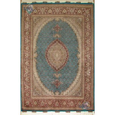 قالیچه دستباف طرح جدید ماهی یازده متن گل ابریشم رنگ خاص