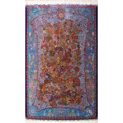 قالیچه دستباف تمام ابریشم قم تولیدی امیررضایی طرح درخت زندگی