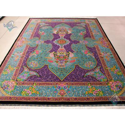 قالیچه دستباف تمام ابریشم قم تولیدی شیرازی هشتاد رج