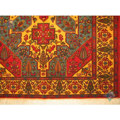 قالیچه دستباف قوچان کردباف رنگ گیاهی گل ابریشم طرح قشقایی