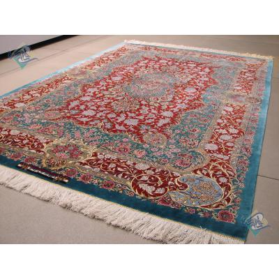 قالیچه سه متری دستباف تمام ابریشم قم تولیدی روزگرد هشتاد رج