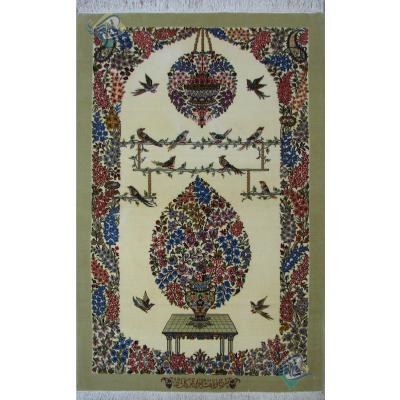 ذرع و نیم دستباف قم کرک و ابریشم طرح گل و بلبل تولیدی کاشانی