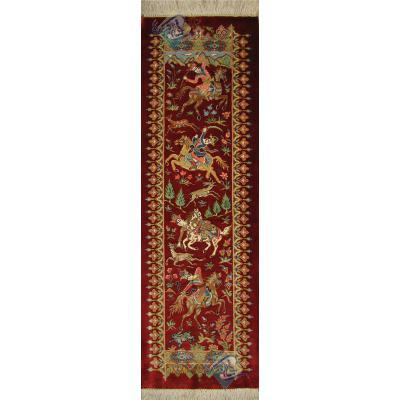 تابلو فرش دستباف تمام ابریشم قم تولیدی خاکی ستونی شکارگاه