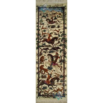 تابلو فرش دستباف تمام ابریشم قم تولیدی عباسی ستونی شکارگاه