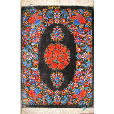 پشتی دستباف تمام ابریشم قم تولیدی شهریار گل فرنگ