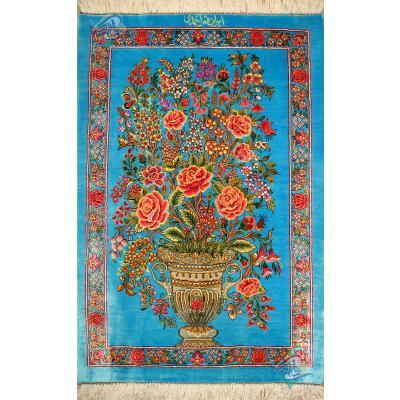 پشتی دستباف تمام ابریشم قم تولیدی احمدی نقشه گلدانی