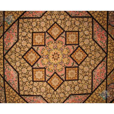 فرش دوازده متری دستباف پشم ریز قم چله و گل ابریشم
