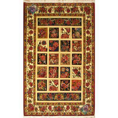 پرده ای دستباف بختیاری خشت گل کتیبه دار پشم دستریس و رنگ گیاهی