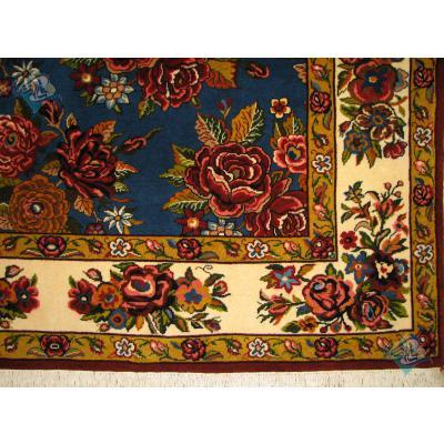 پرده ای دستباف بختیاری طرح گل رز سراسری رنگ گیاهی