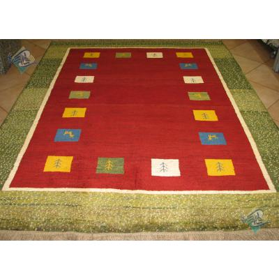 پرده ای دستباف گبه قشقایی طرح کف ساده حاشیه دار رنگ گیاهی