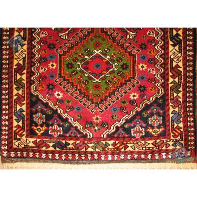 سایز پشتی دستباف یلمه علی آباد طرح سه حوض رنگ گیاهی