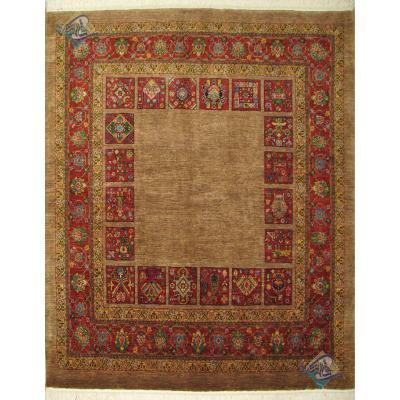 قالی مربع دستباف قشقایی شیراز تمام پشم دستریس رنگ گیاهی
