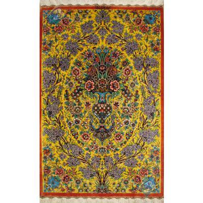تابلو دستباف تمام ابریشم قم نقشه گلدانی تولیدی احمدی باقاب جدید
