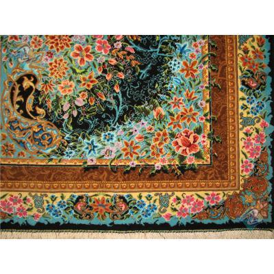 ذرع و چهارک دستباف قم پشمی چله و گل ابریشم طرح یکطرفه