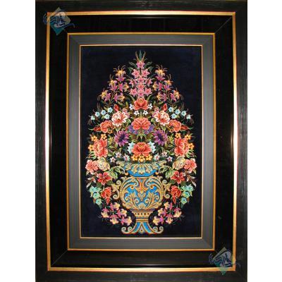 تابلوفرش دستباف تمام ابریشم قم نقشه گلدانی هشتاد رج