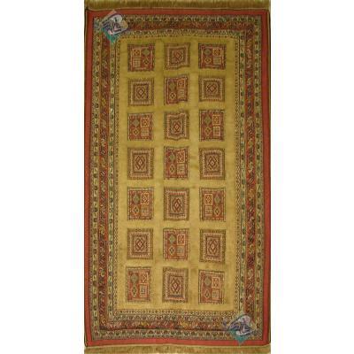 قالیچه دستباف سوزنی فرش سیرجان خشتی برجسته باف رنگ گیاهی