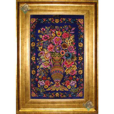 تابلو فرش دستباف تمام ابریشم قم طرح گلدانی تولیدی سمندرقم