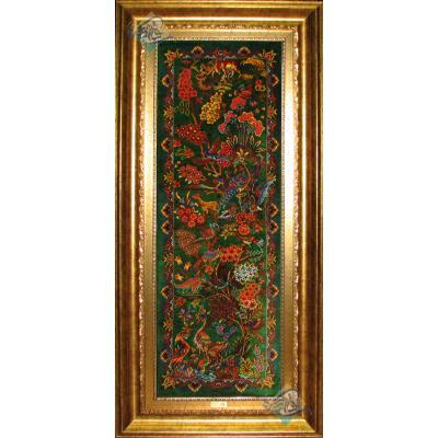 تابلو فرش دستباف تمام ابریشم طرح جنگل ستونی هشتاد رج
