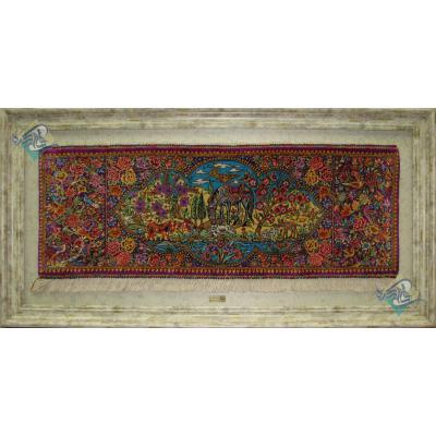 تابلویی فرش دستباف تمام ابریشم قم نقشه گل و بلبل و حیواندار عرضی