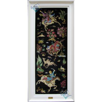 تابلویی فرش دستباف تمام ابریشم قم نقشه شکارگاه ستونی