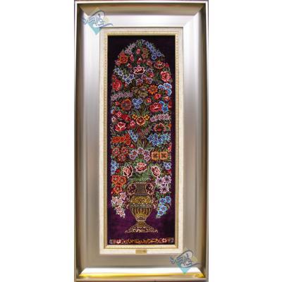 تابلویی فرش دستباف تمام ابریشم قم ستونی گلدانی تولیدی احمدی