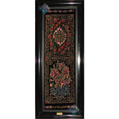 تابلویی فرش دستباف تمام ابریشم قم ستونی دوکتیبه تولیدی احمدی