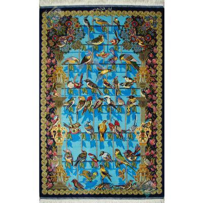 ذرع و چهارک دستباف تمام ابریشم قم طرح چهل طوطی تولیدی سعید