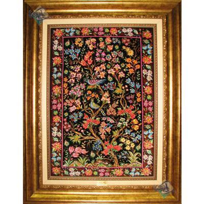 تابلویی فرش دستباف تمام ابریشم قم  نقشه درختی گل و بلبل ریز باف