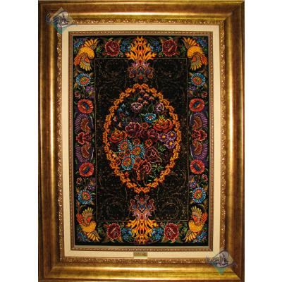 تابلویی فرش دستباف تمام ابریشم قم  طرح ترنجی یکطرفه خوش نقشه