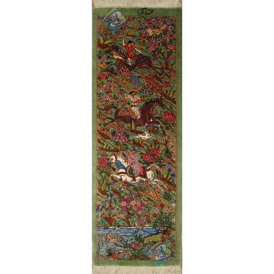 تابلویی فرش دستباف تمام ابریشم قم ستونی شکارگاه تولیدی خاکی