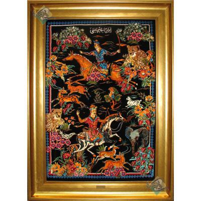 تابلویی فرش دستباف تمام ابریشم قم شکارگاه تولیدی اسماعیلی هشتاد رج
