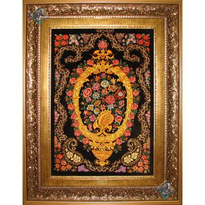 تابلو فرش دستباف تمام ابریشم قم طرح گل وبته تولیدی احمدی هشتاد رج