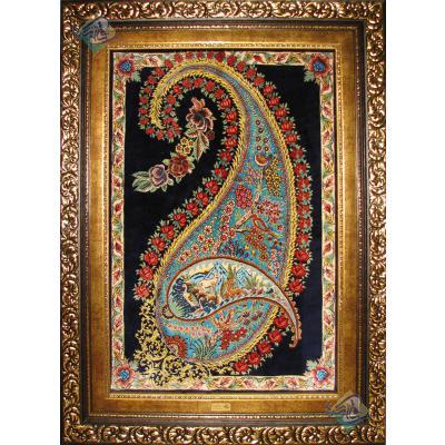تابلویی فرش دستباف تمام ابریشم قم طرح بته مادر و بچه هشتاد رج اعلا باف