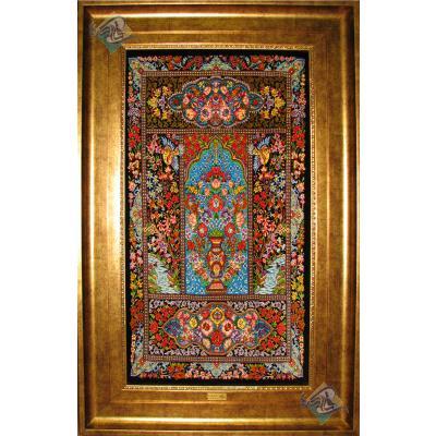 تابلویی فرش دستباف تمام ابریشم قم خشت و کتیبه هشتاد رج اعلا باف