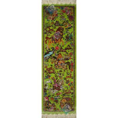 تابلویی فرش دستباف تمام ابریشم قم نقشه شکارگاه ستونی هشتاد رج بدون قاب