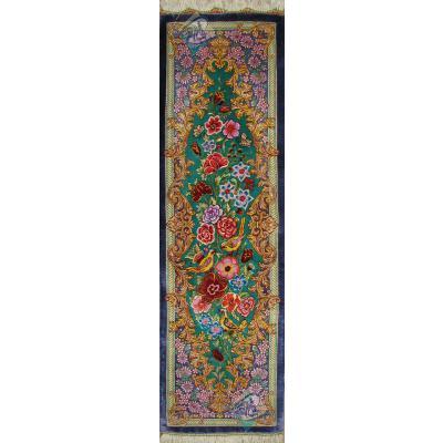 تابلویی فرش دستباف تمام ابریشم قم ستونی گل و بلبل هشتاد رج اعلا