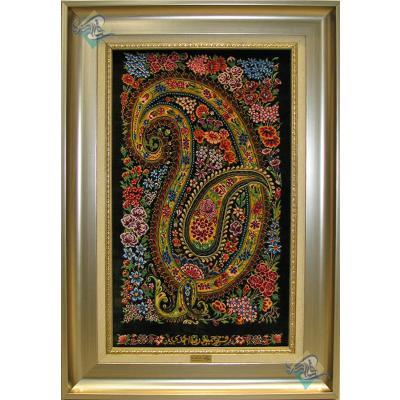 تابلویی فرش دستباف تمام ابریشم قم بته جغه گلدار تولیدی احمدی