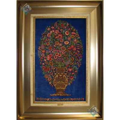تابلویی فرش دستباف تمام ابریشم قم گلدانی تولیدی احمدی