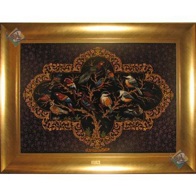 تابلویی فرش دستباف تمام ابریشم قم باغ پرنده تولیدی احمدی