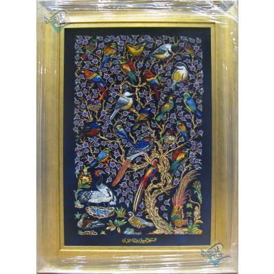 تابلویی فرش دستباف تمام ابریشم قم گل و بلبل تولیدی احمدی بدن قاب