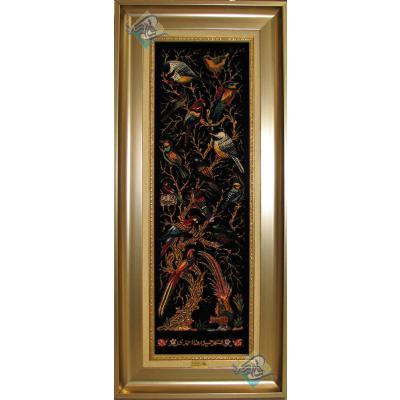 تابلویی فرش دستباف تمام ابریشم قم ستونی گل و بلبل تولیدی احمدی