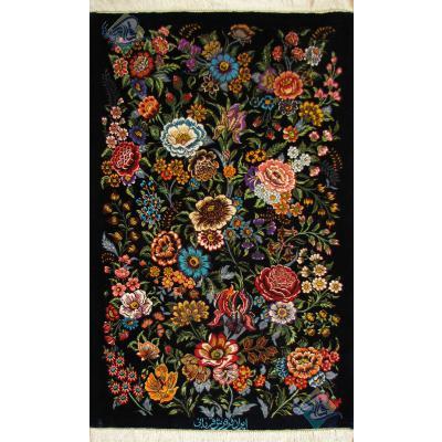 سایز پشتی دستباف تمام ابریشم قم طرح تمام گل قربانی هشتاد رج