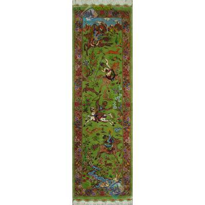 تابلویی فرش دستباف تمام ابریشم قم ستونی شکارگاه تولیدی بیطرفان بدون قاب