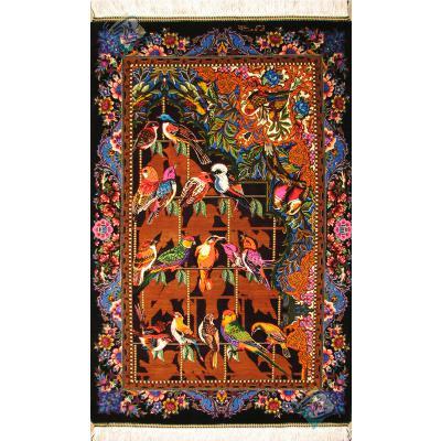 تابلویی سایز پشتی دستباف تمام ابریشم قم طرح چهل طوطی تولیدی کوهستانی