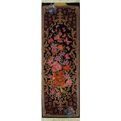 تابلویی فرش دستباف تمام ابریشم قم گل و بلبل ستونی بیطرفان